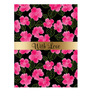 Shiny bright pink flowers,green leaves on black postcard
