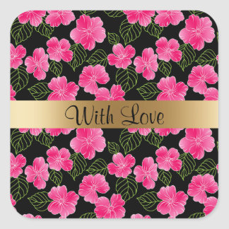 Shiny bright pink flowers,green leaves on black square sticker