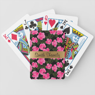Shiny bright pink flowers with green leaves bicycle playing cards