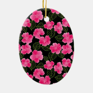 Shiny bright pink flowers with green leaves ceramic ornament