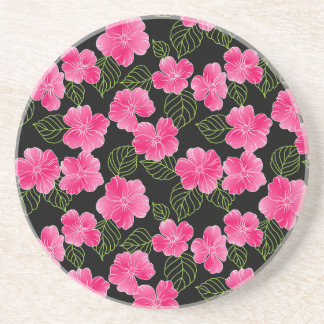 Shiny bright pink flowers with green leaves coaster