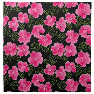 Shiny bright pink flowers with green leaves napkin
