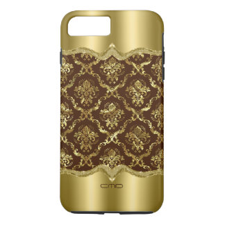 Shiny Brown & Gold Lace Damasks iPhone 7 Plus Case