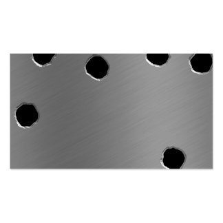 shiny brushed aluminum bullet holes business card