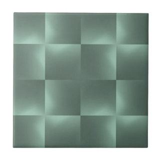 shiny checks teal ceramic tile