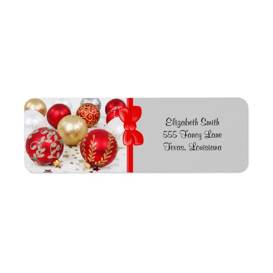 Shiny Christmas Glittered Ornaments - Gold Red Return Address Label