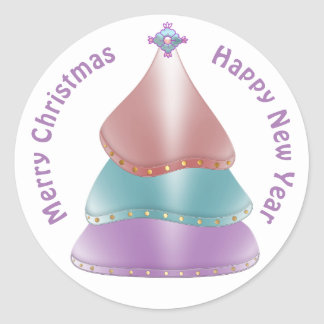 Shiny Christmas Tree in Candy Color Classic Round Sticker