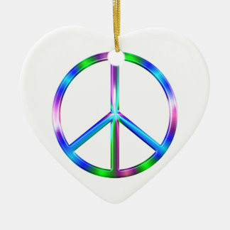Shiny Colorful Peace Sign Ceramic Heart Ornament
