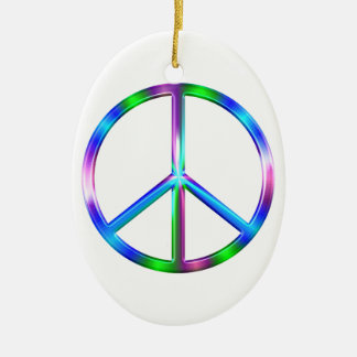 Shiny Colorful Peace Sign Ceramic Oval Ornament