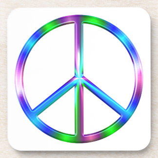 Shiny Colorful Peace Sign Coaster