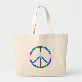 Shiny Colorful Peace Sign Large Tote Bag