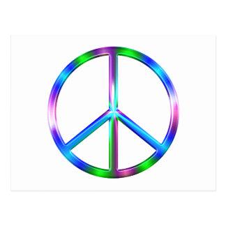 Shiny Colorful Peace Sign Postcard
