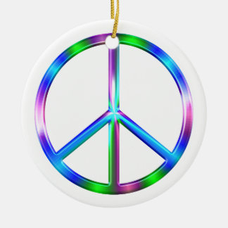 Shiny Colorful Peace Sign Round Ceramic Ornament