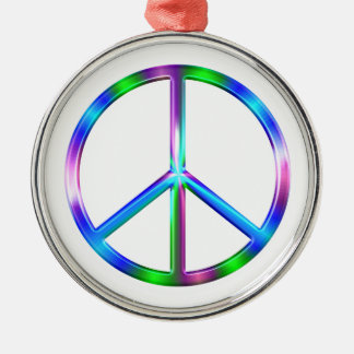 Shiny Colorful Peace Sign Silver-Colored Round Ornament