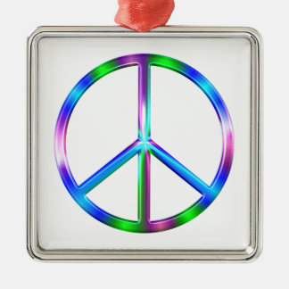 Shiny Colorful Peace Sign Silver-Colored Square Ornament