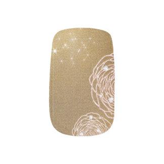 Shiny Diamond Gold Rose Nail Art