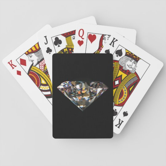 Shiny Diamond Jewel Bling Black Background Sleek Playing Cards
