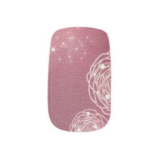 Shiny Diamond Rose Nail Art