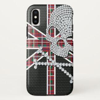Shiny Diamond Skull Black Red Grid iPhone X Case