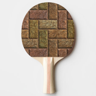 Shiny digital bricks pattern bronze and copper Ping-Pong paddle