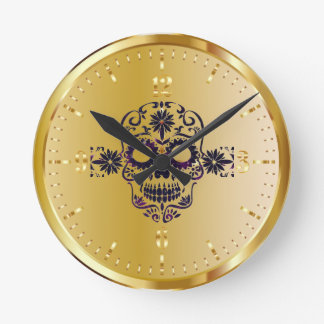 Shiny Faux Gold Sugar Skull Clock