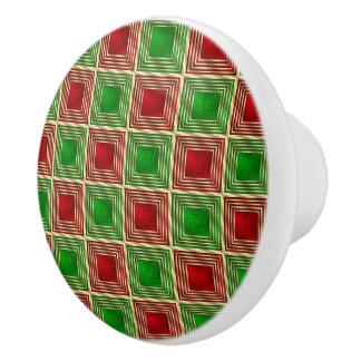 Shiny Festive Squares Ceramic Knob