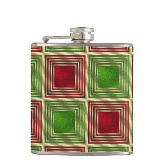 Shiny Festive Squares Hip Flask