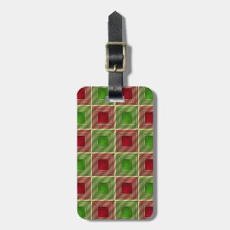 Shiny Festive Squares Luggage Tag