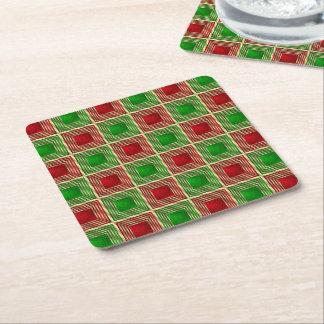 Shiny Festive Squares Square Paper Coaster