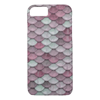 Shiny Fish Scales Effect Pattern Pink White iPhone 7 Case