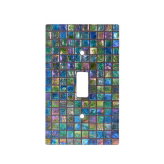 Shiny Glamourous Ceramic Tiles Aqua Light Switch Cover