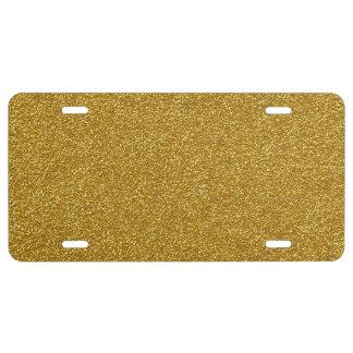 Shiny Glitter, Sparkling Glitter Glow - Gold License Plate