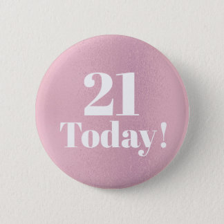 Shiny Glittery Pink 21st (or any)  Birthday Button