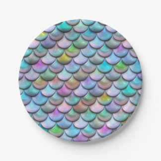 Shiny glossy pearlescent colorful mermaid scales paper plate