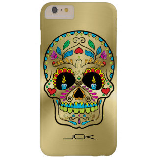 Shiny Gold And Colorful Sugar Skull Barely There iPhone 6 Plus Case