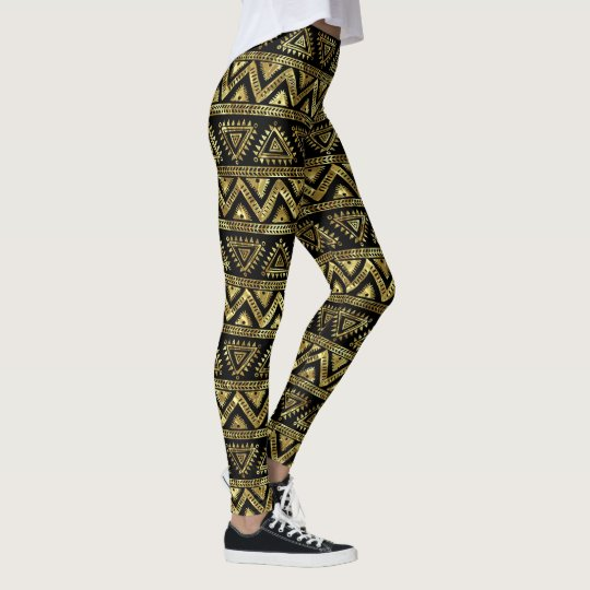 Shiny Gold & Black Tribal Geometric Pattern Leggings