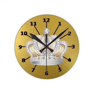 Shiny Gold & Crown Round Clock