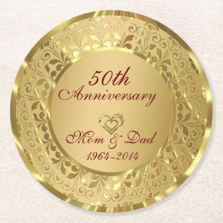 Shiny Gold Damask 50th Wedding Anniversary Round Paper Coaster