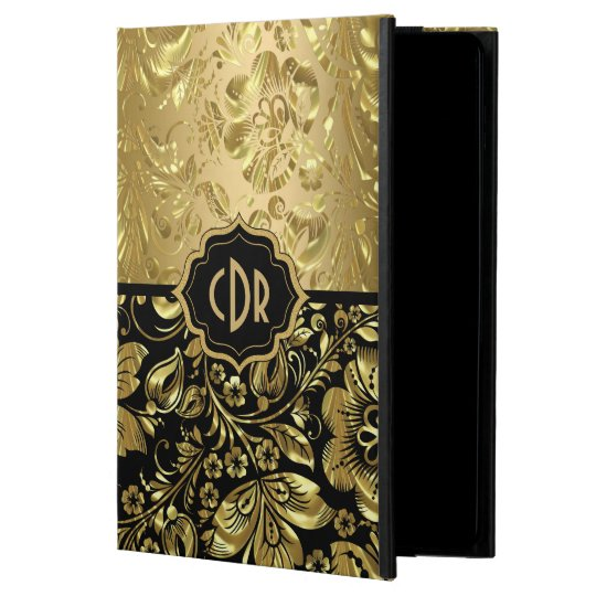 Shiny Gold Damasks On Black Background Case For iPad Air