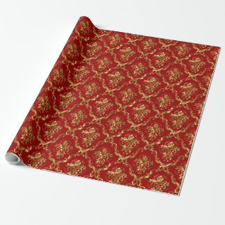 Shiny Gold Damasks Over Custom Burgundy Background Wrapping Paper
