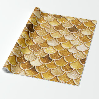 Shiny Gold Glitter Mermaid Scales Wrapping Paper