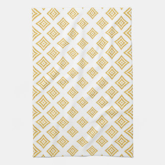 Shiny Gold Glitter Rhomboid Pattern Kitchen Towel