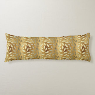 Shiny Gold Leaves Body Pillow