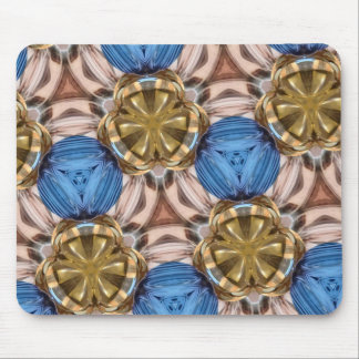 Shiny Gold Paperweight Glasses Marbles Blue Brown Mousepad