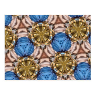 Shiny Gold Paperweight Glasses Marbles Blue Brown Postcard