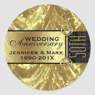 Shiny Gold & Sparkles 50th Wedding Anniversary Classic Round Sticker