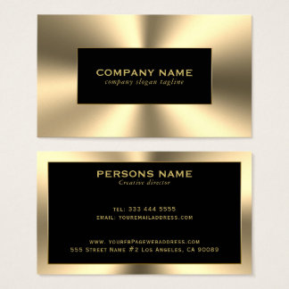 Shiny Gold Tones Stainless Steel Look Business Card