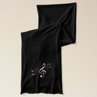 Shiny Gold Treble Clef Glitz Music Lovers Scarf