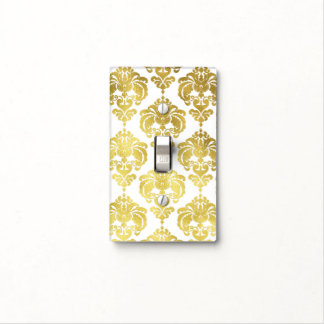 Shiny Gold & White Glam Pattern Modern Chic Light Switch Cover