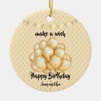 Shiny Golden Balloons & Dots, Make a Wish Birthday Ceramic Ornament